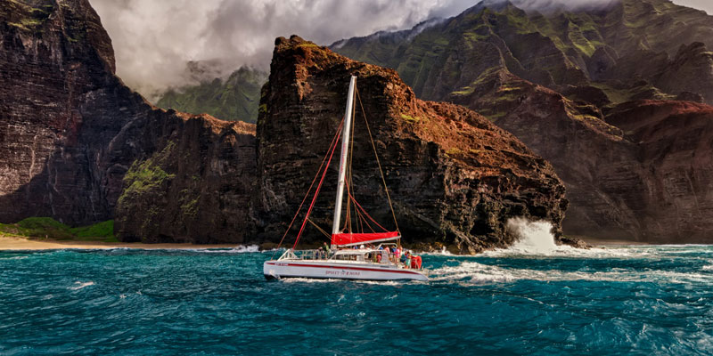 A sunset cruise on the Na Pali Coast, Kauai